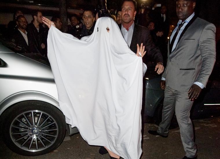 Lady Gaga dressed as a ghost in Paris
