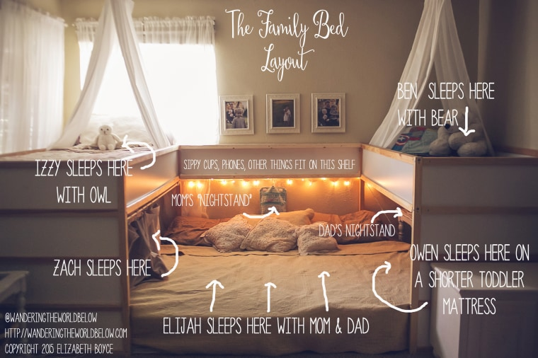 This photo of Boyce's family bed layout went viral after she posted it to her personal Facebook page.