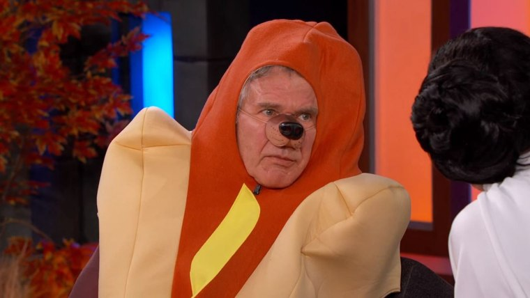 Dressed as a hot dog, Actor Harrison Ford recounts the harrowing details of a recent plane crash he was in