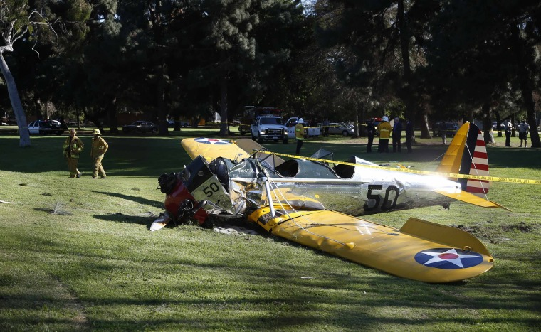 An airplane sits after crash landing at Penmar Golf Course in Venice California
