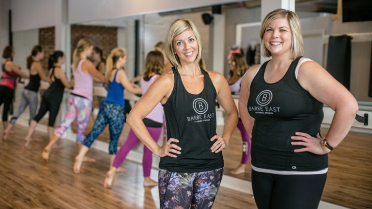 Shows Taryn Sisco and Megan Ellis, co-managers of Barre East Fitness Studio, who are fighting back against a body shaming letter.