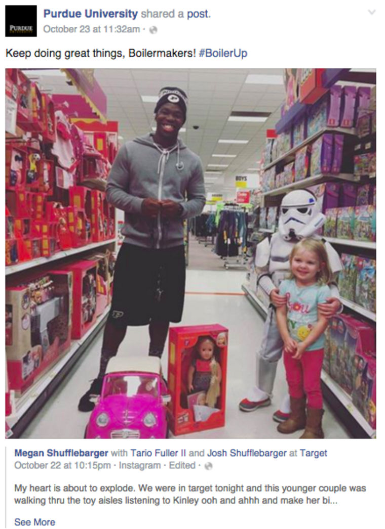 Purdue University's latest star is Tario Fuller who randomly gifted a toddler a doll at Target