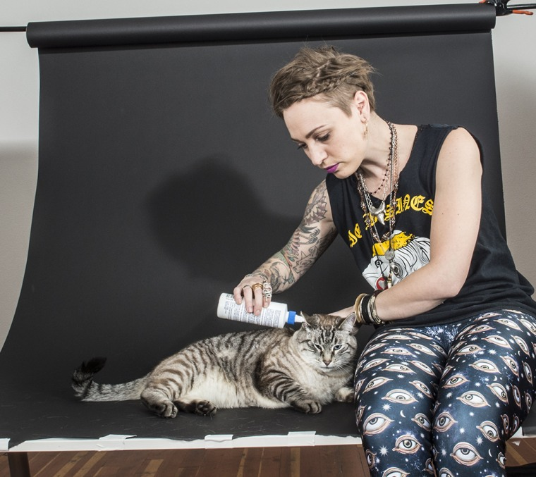 """Carli Davidson cleans cats' ears to get them in hilarious poses in new book """"Shake Cats"""""""
