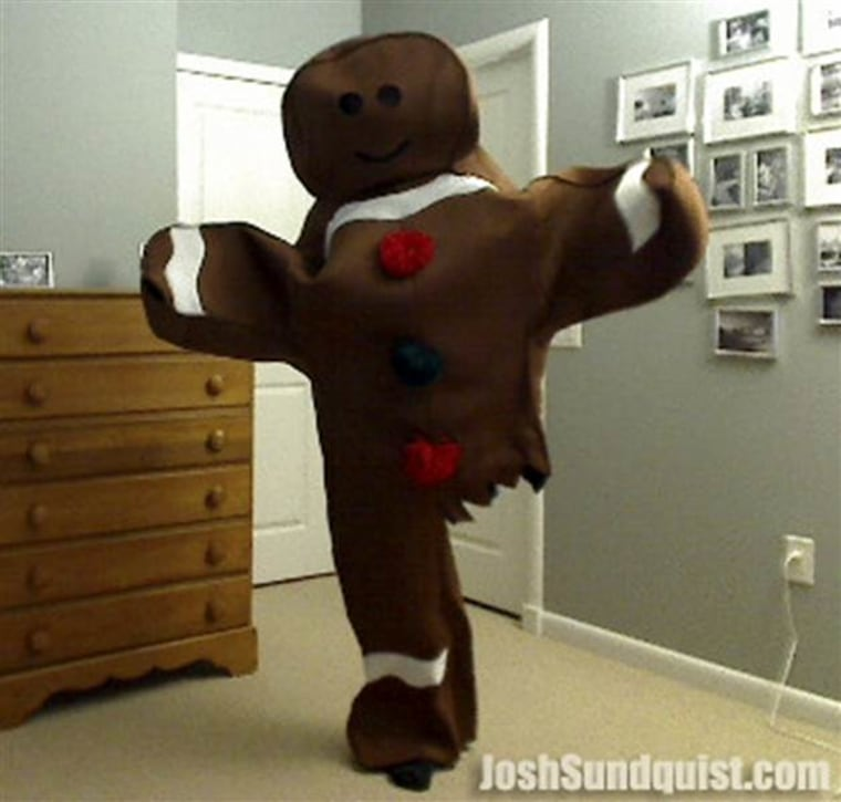 In 2010, Josh Sundquist was a gingerbread man with a partially-eaten leg.