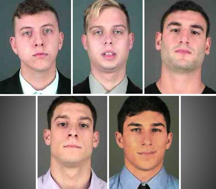 Students arrested in connection with an alcohol-related death in Albany, New York, from left, top, Keith Rosengarten, Olaf Jablonski, Yuval Sucov, bottom, Steven Villa and Jonathan Maldonado.