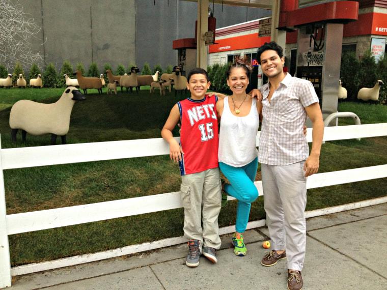 "Sandra Guzman with her two ""nenes."""
