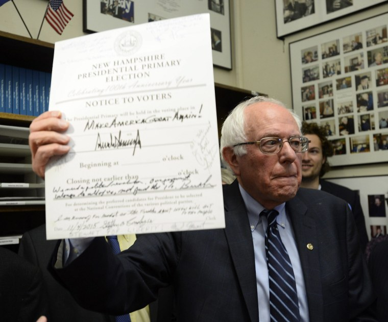Image: Bernie Sanders files his intention to be on the New Hampshire Primary ballot