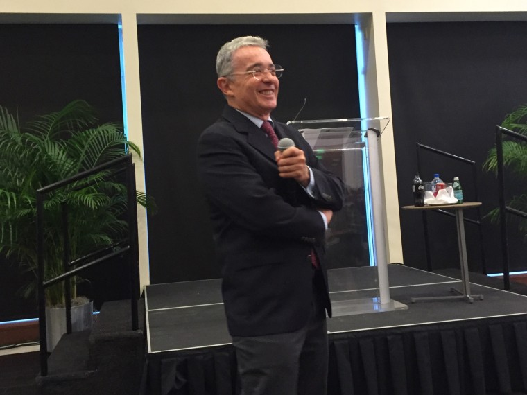 Colombian Senator and former president Alvaro Uribe answers questions at University of Miami in Coral Gables, Fla. on Nov. 6, 2015.