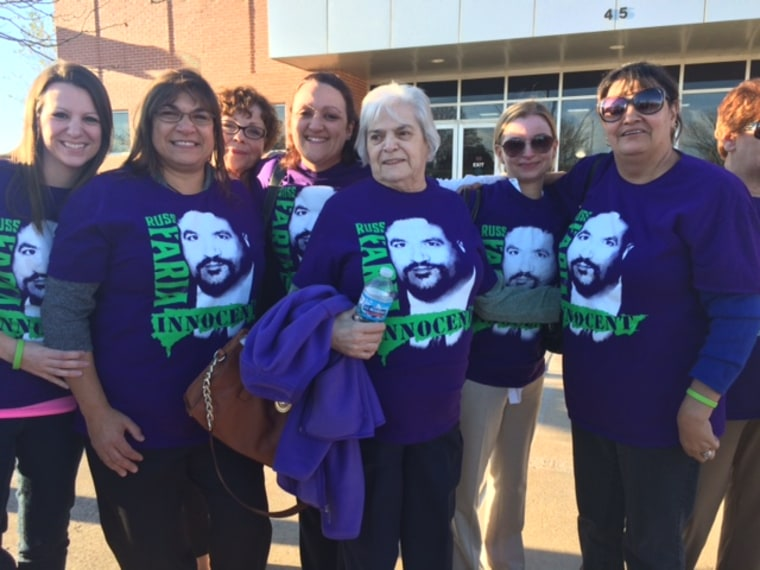 Some of Faria's supporters outside the courthouse after the verdict was read.