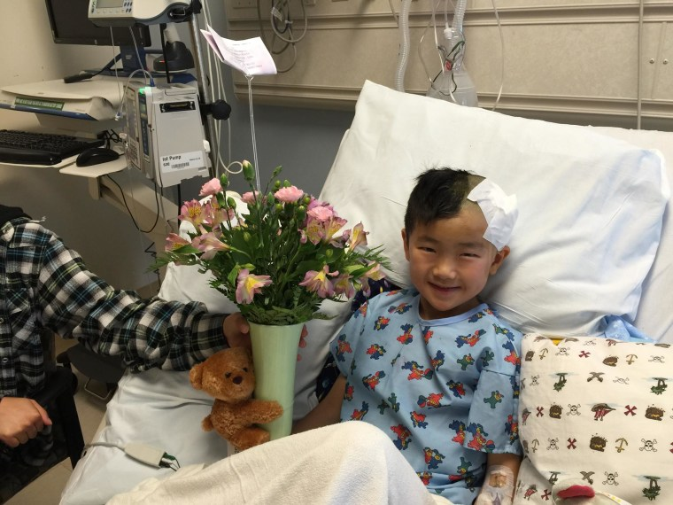 Seven-year-old Jeremy Tsou says he was pushed by another student, but an investigation by the school says he received his injury after he tripped over a pencil.