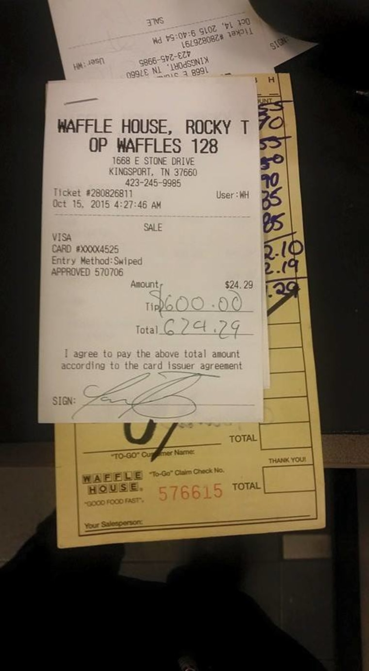 Lauren Ball, a Waffle House waitress, received a $600 tip from customers