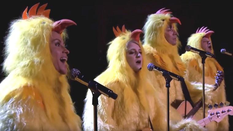 "Jimmy Fallon, Alanis Morissette & Meghan Trainor Cluck ""Ironic"""