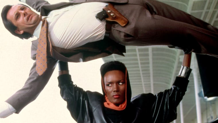 A VIEW TO A KILL, Grace Jones (bottom), 1985. © MGM/ courtesy Everett Collection