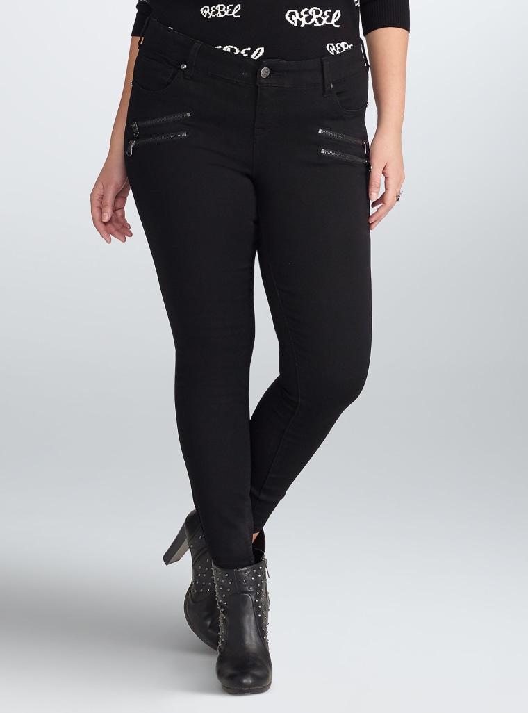 Rebel Wilson for Torrid Multi Zip Skinny Jeans