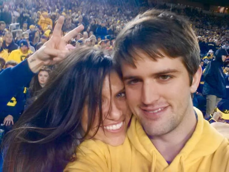 Michigan football fans Kate Queram and Brandon Wagoner got married after meeting in an ESPN chat room