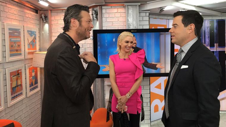 Blake Shelton, Gwen Stefani and Carson Daly