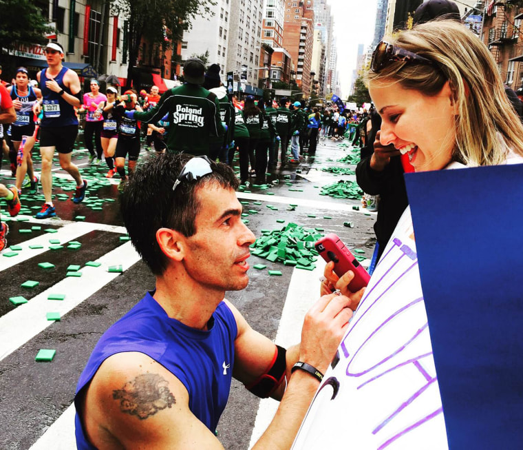 Joe Duarte proposes to girlfriend Katie Mascenik at the NYC Marathon on Sunday.