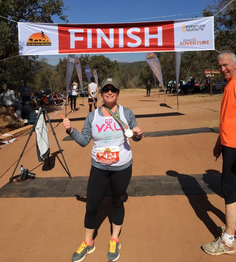 Woman finishing a marathon