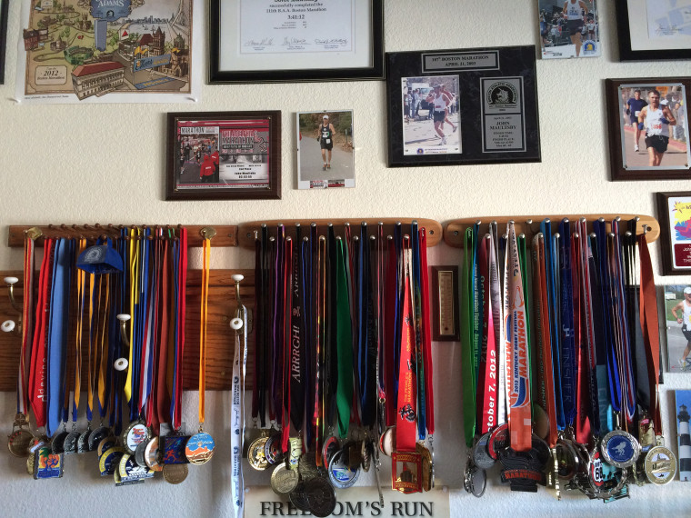 Maultsby's medals from all 50 of his marathons completed across the country.