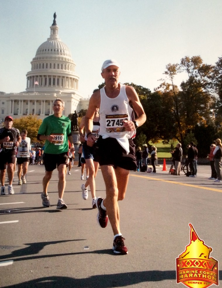 Maultsby running the Marine Corps Marathon in Washington, D.C.
