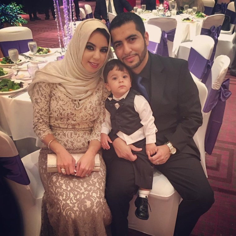 Wael Hijaz with his wife Sarah Ashour and son Jalal Hijaz, who loves music. Jalal's cute response to Adele's new song is going viral.