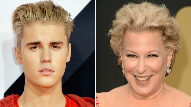 MILAN, ITALY - OCTOBER 25:  Justin Bieber attends the MTV EMA's 2015 at the Mediolanum Forum on October 25, 2015 in Milan, Italy.  (Photo by Anthony Harvey/Getty Images for MTV) HOLLYWOOD, CA - MARCH 02: Bette Midler attends the Oscars held at Hollywood & Highland Center on March 2, 2014 in Hollywood, California.  (Photo by Jason Merritt/Getty Images)