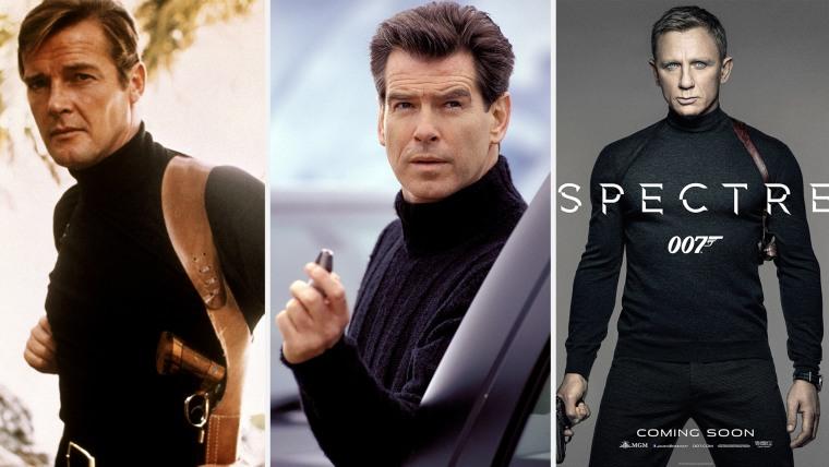 "Roger Moore in ""Live and Let Die,"" 1973. Pierce Brosnan in ""Die Another Day,"" 2002. Daniel Craig in ""Spectre,"" 2015."
