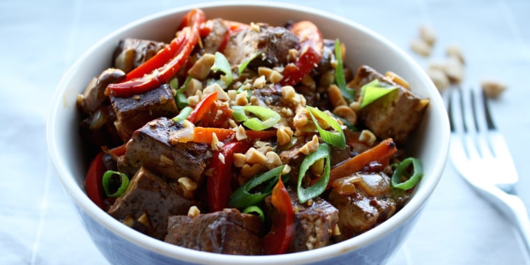 Spicy Chinese Tofu with Scallions and Peanuts