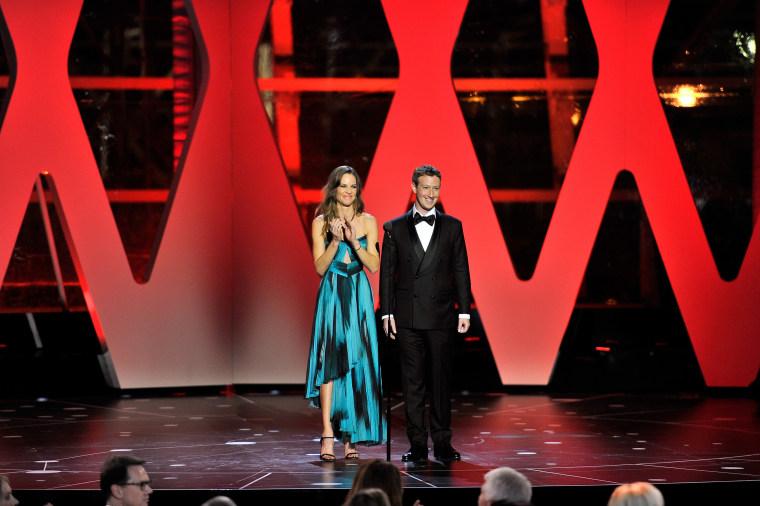 Image: Actress Hilary Swank and Mark Zuckerberg