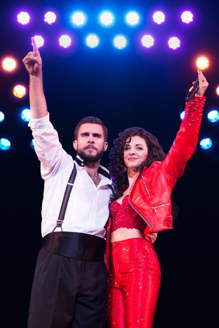 Josh Segarra and Ana Villafañe as Emilio and Gloria Estefan in ON YOUR FEET!