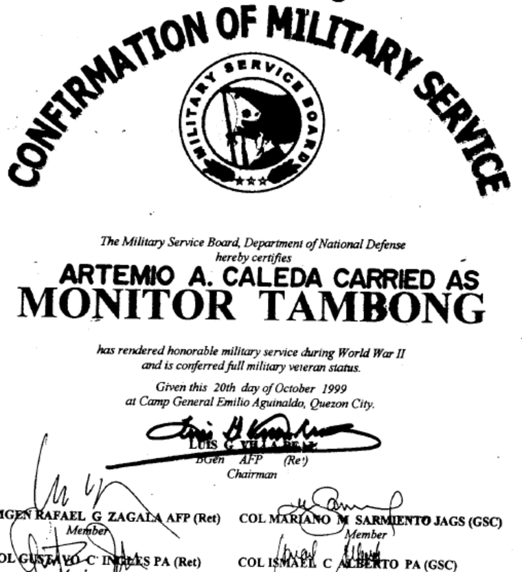 This Philippine government document authenticates Artemio Caleda and his alias, Monitor Tambong, as one and the same. The U.S. Army has disallowed the document and says Caleda is ineligible for the equity lump sum payment awarded Filipino Veterans of WWII.