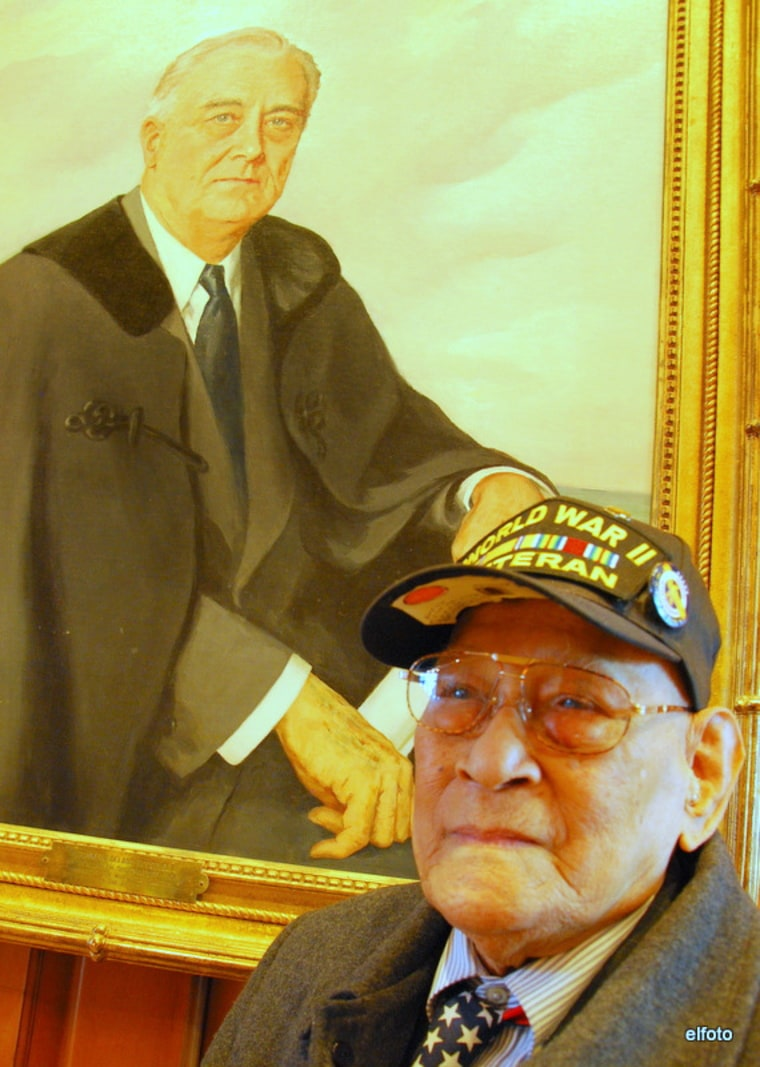 Celestino Almeda, 98, stands in front of President Franklin D. Roosevelt official portrait in the White House lobby during Veterans Day 2010. More than 250,000 Filipinos answered Roosevelt's call in 1941 and joined the U.S. Army in the Philippines. They were promised citizenship, equal pay and benefits. But President Truman went back on the promise by signing the Rescission Act of 1946. Almeda is still fighting to restore what was taken away.