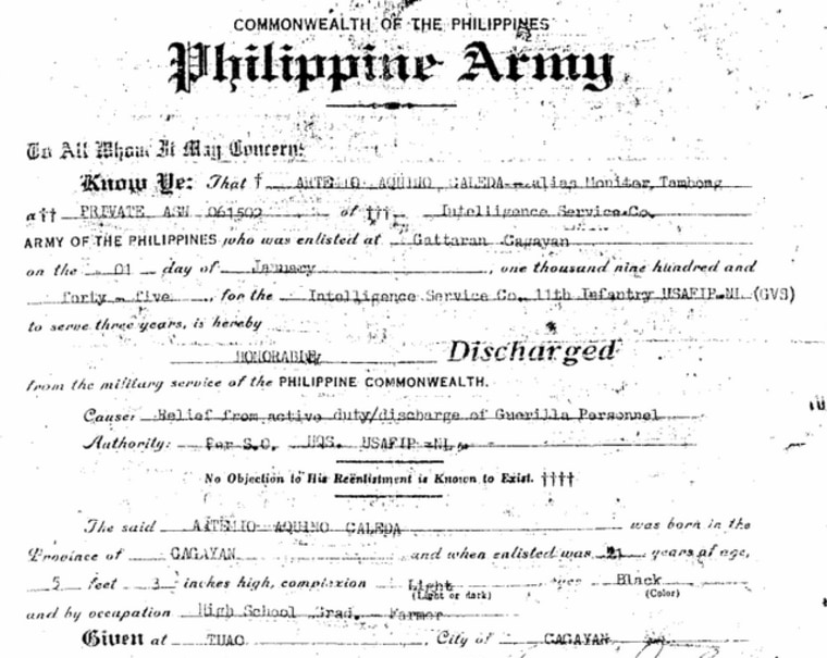 "Artemio Caleda's discharge papers from the Philippines as a member of the U.S. Army Forces in the Philippines (USAFIP), Intelligence Service Company, 11th Infantry. The document should make him eligible for equity benefits, but this document does not contain Caleda's alias ""Monitor Tambong."""