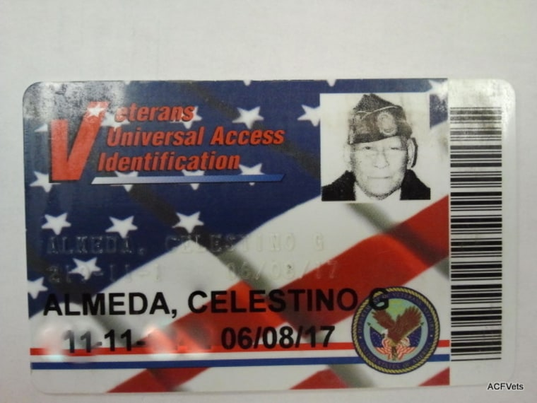The VA card of Celestino Almeda. Like Artemio Caleda, Almeda has received citizenship and some VA benefits for his service during World War II, but not the equity payout. More than 4,000 veterans and their widows and spouses, have yet to receive lump sum payments that were approved by Congress in 2009.