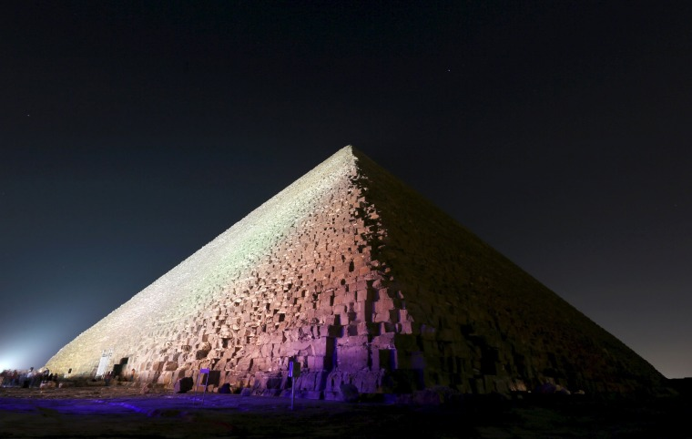 Image: The Pyramid of Khufu, the largest of the pyramids of Giza, is pictured on the outskirts of Cairo