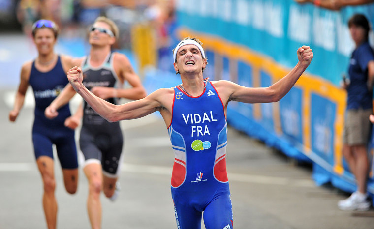 Image:  Laurent Vidal celebrates his first ITU World Cup victory