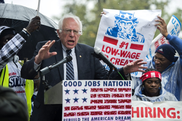 Image: US Democratic Presidential Candidate Bernie Sanders delivers remarks supporting a minimum wage increase