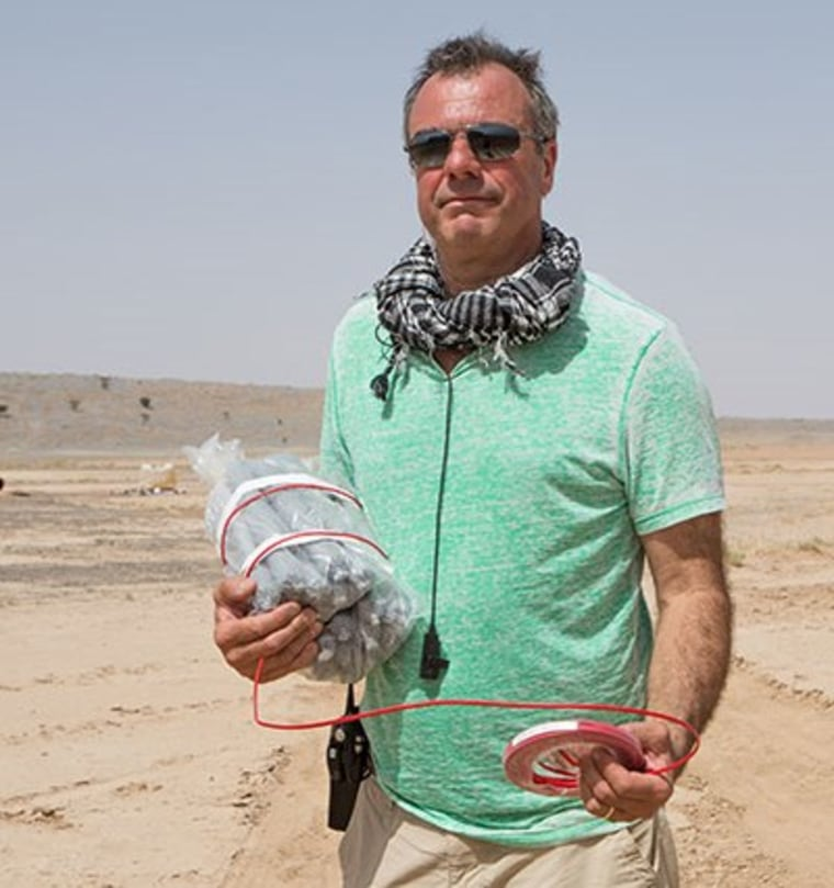 """Spectre"" Special Effects Supervisor Chris Corbould sets up the bomb in Morocco."