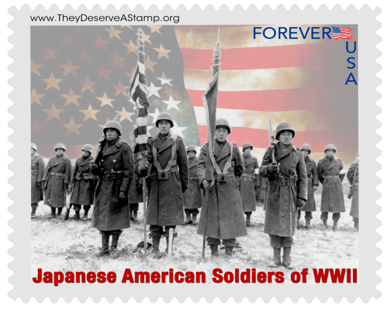 A mock-up of a possible stamp design commemorating Nisei Japanese-American soldiers who fought in the U.S. military during World War II.