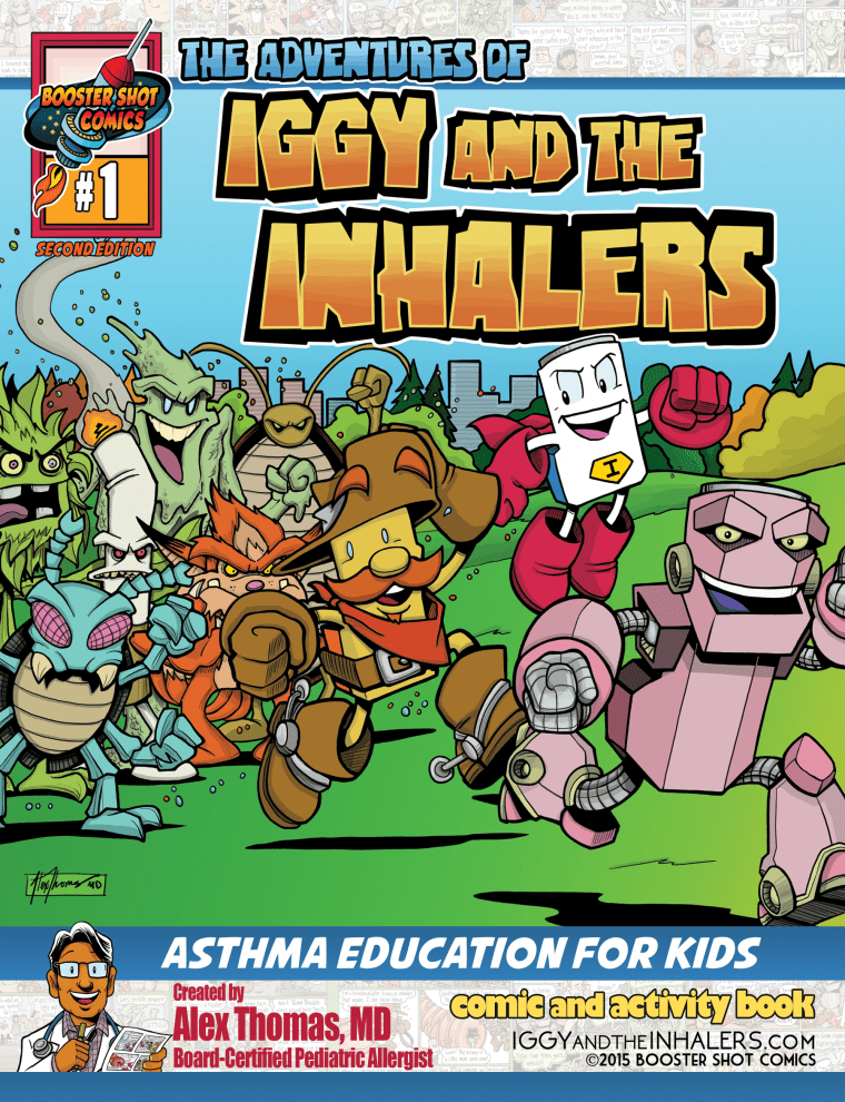 """The cover of an """"Iggy and the Inhalers"""" comic book."""