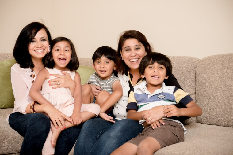 "3 Curious Monkeys cofounders and ""The Diwali Gift"" co-authors, Shweta Chopra and Shuchi Mehta, with their children"