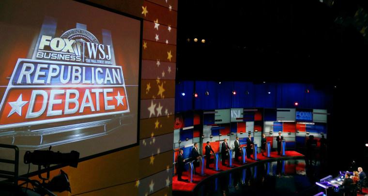 Image: Republican U.S. presidential candidates participate in the debate in Milwaukee