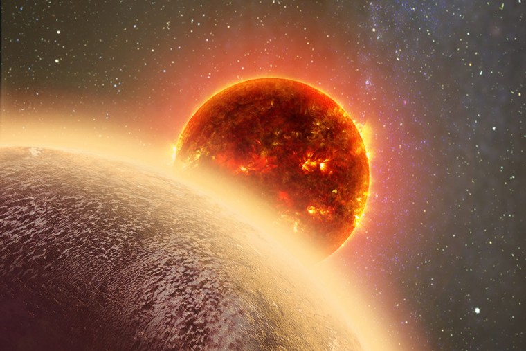 Image: Artist's conception of exoplanet GJ 1132b, foreground