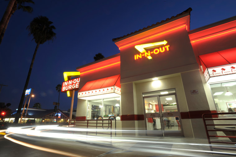 Image: Cars exit the drive-thru of an In-N-Out Burger