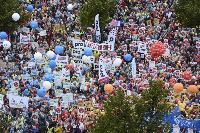 Image: People demonstrate against budget measures in Helsinki