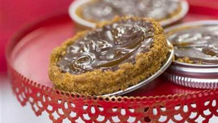Chocolate caramel mason lid jar tarts