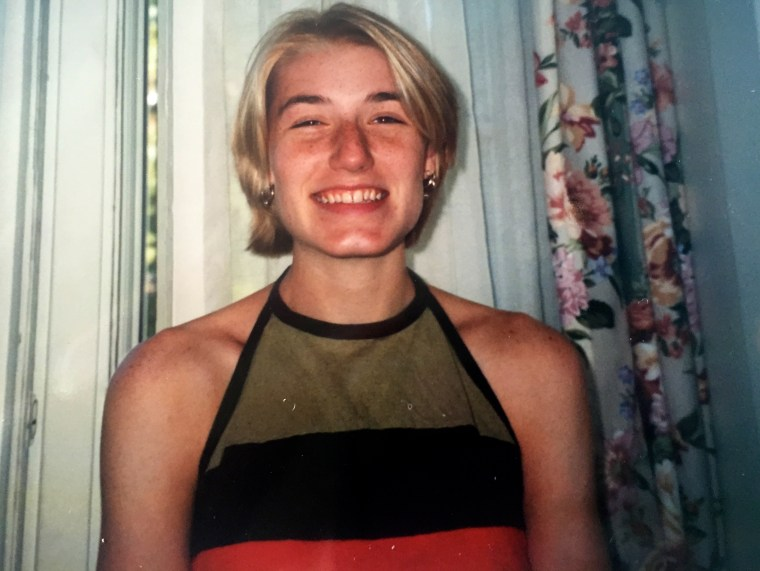 Bleach blonde and fully freckled in high school in 1997.