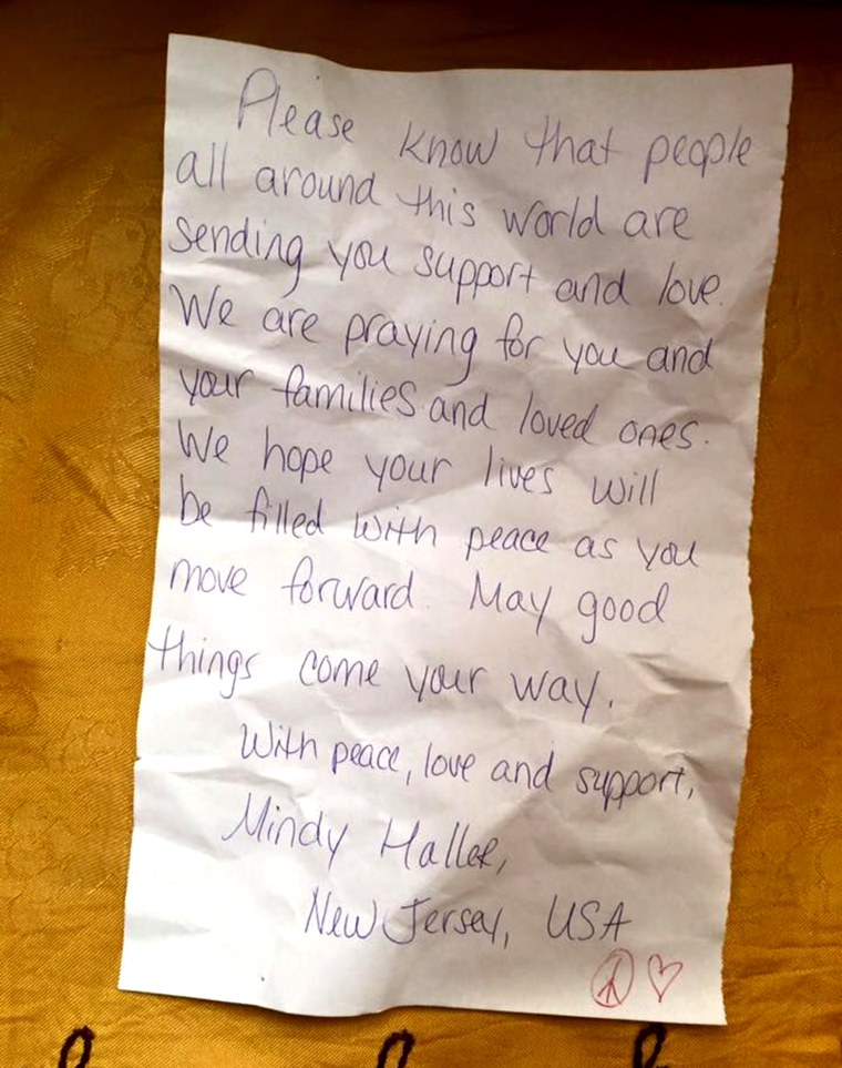 A note of encouragement attached to a donated baby carrier from across the globe.
