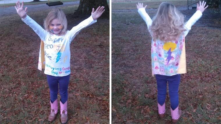 Josie Kimberlin dressed up as her own superhero
