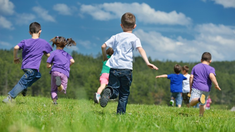 happy kids group have fun in nature outdoors park; Shutterstock ID 108924578; PO: TODAY.com